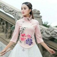 KYQIAO Online Chiński sklep 2017 kobiety boho etniczne bluzka m-4xl oryginalna pół rękawem peter pan kołnierz hafty koszula blusa