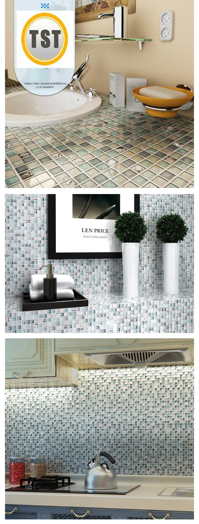 11 sheets/lot wholesale sea glass tiles mosaics blue white crackle ...
