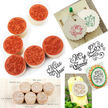 Nice Handwriting Wishes Sentiment Wooden Rubber Round Stamp Floral Choose Word