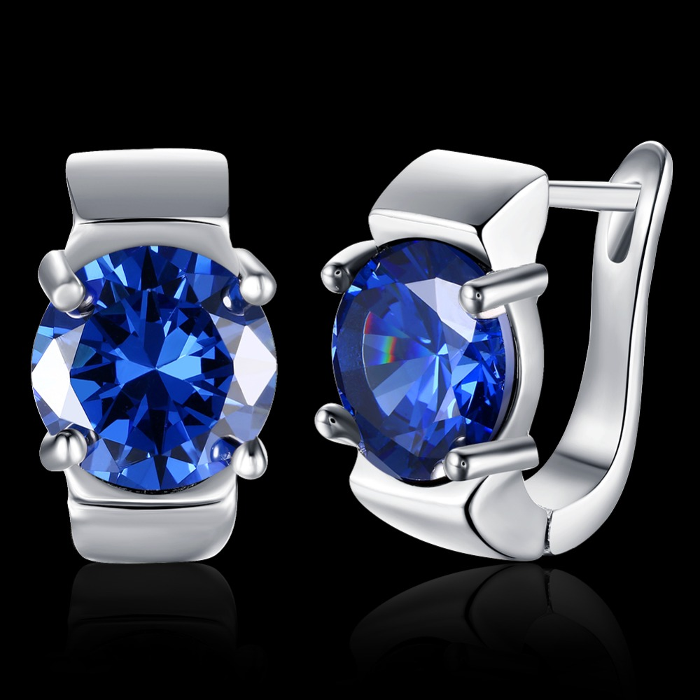 Icareu 2017 Top Quality Luxury Silver Color Round Darkblue Zircon Stud Earrings For Women Girl Jewelry Drop Shoping