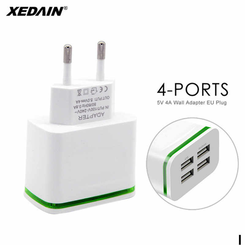 4-Ports USB Charger EU Quick Charger for iPhone Samsung Huawei 5V 4A Mobile Phone Universal Fast Charge LED Light Wall Adapter