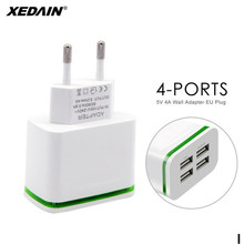4-Ports USB Charger EU Quick for iPhone Samsung Huawei 5V 4A Mobile Phone Universal Fast Charge LED Light Wall Adapter