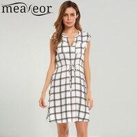 Meaneor Women Fashion V Neck Cap Sleeve Grid A Line Dress
