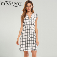 Meaneor Women Fashion V Neck Cap Sleeve Grid A Line Dress