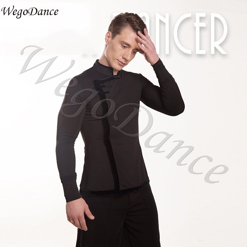customized Men's Professional Latin Dance shirt Competition costumes freeshipping