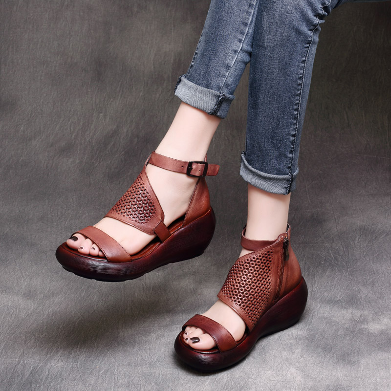 Women Leather Gladiator Sandals Wedges Heels 7 Cm High Heels Summer Shoes Embroidery Genuine Leather Women Sandals Handmade Shoe-in High Heels from Shoes    1