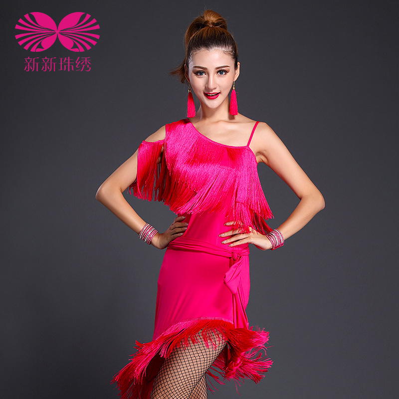 2017 Ballroom Dress Latin Dress Offer Real Women Tango Ladies Dance Performance Wear Tassel Sequins Clothing Women's High-grade