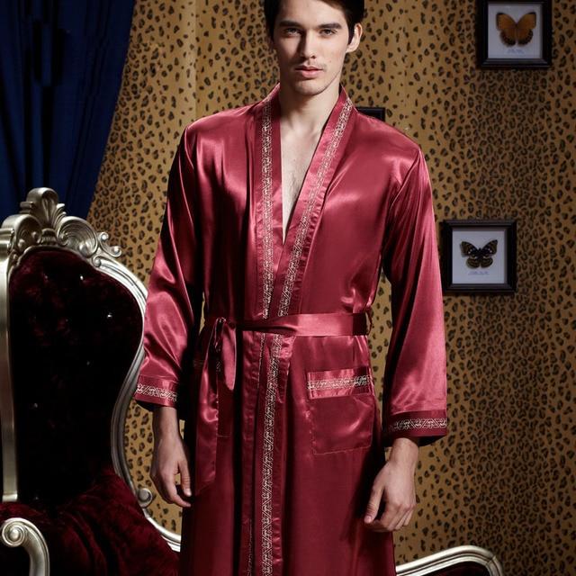 XIFENNI Men Silk Robes Long-Sleeve Embroidery V-Neck Bathrobe Softness Comfortable Satin Silk Sleepwear Pijamas Male 20542