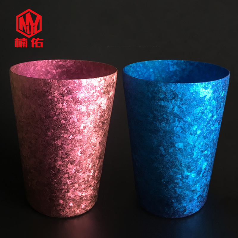 EDC Pure Titanium Double layer Cup Thickening Personality Lettering Colorful High grade Camping Outdoor Cutlery Cup