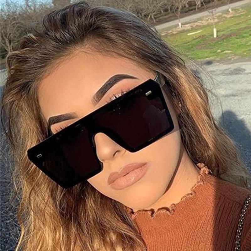 US $3.0  2020 Flat Top Oversize Square Sunglasses Women Fashion Retro Gradient Sun Glasses Men Blue Big Frame Vintage Eyewear UV400 Women's