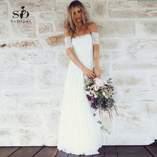 Off-the shoulder Lace Wedding Dress Simple Vestido De Novia Playa Cheap Custom made Strapless