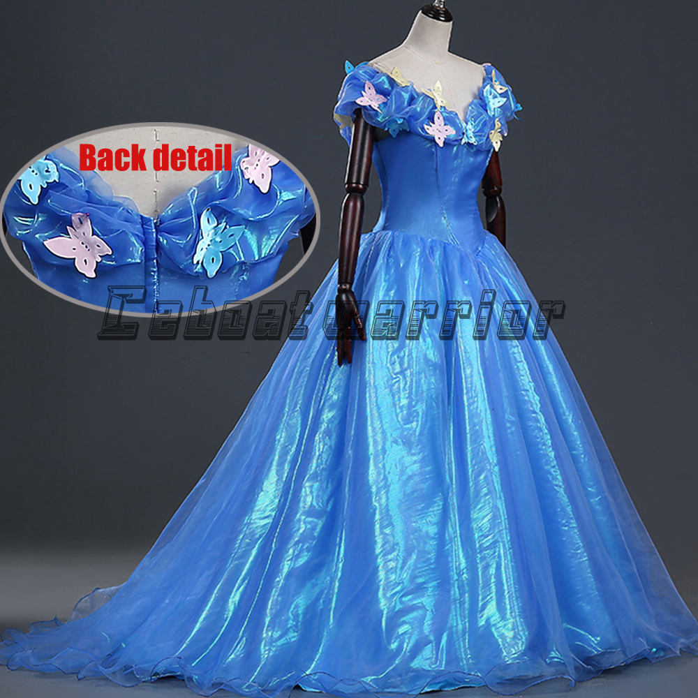 2018 New Cinderella Princess adults cosplay costume cinderella blue fancy dress Custom made