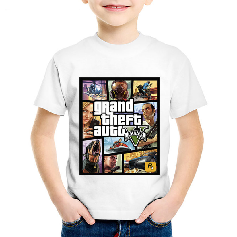 Children Fashion Print GTA Street Fight Long With GTA 5 T-shirts Kids Summer Clothes Boys/Girls Casual Tops Baby Tees,HKP2180 high quality slub cotton summer girls boys fashion t shirts soft baby casual sleeveless vest print star kids clothes
