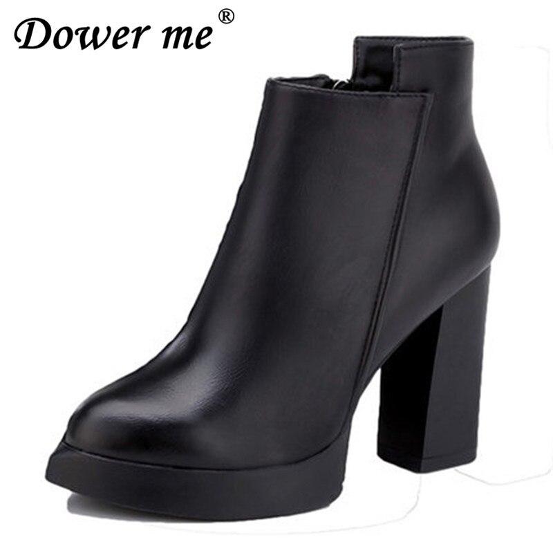 Otoño Botas Black Lady De Oxford Tacones Del Mujeres Ol Nuevas 2019 Calzado Negro Plain Mujer Formal Tobillo Zapatos Vestido Lluvia Zipper qgwE0x4R