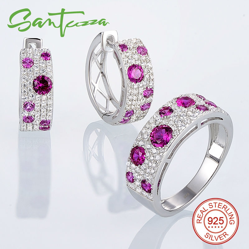 Santuzza Silver Jewelry Set for Women Natural Red Stones Jewelry Set Stud Earrings Ring Set 925 Sterling Silver Jewelry Sets santuzza jewelry sets for women blue spinels white cz stones jewelry set ring stud earrings set 925 sterling silver jewelry set