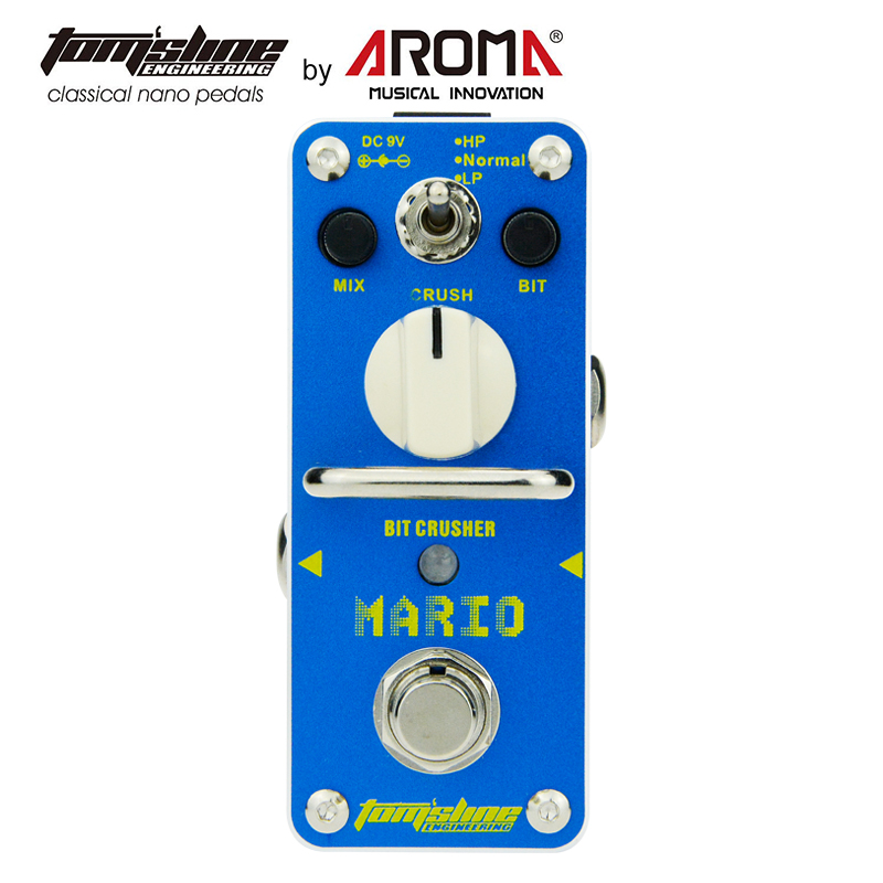 AROMA AMO-3 Mario Bit Crusher Electric Guitar Effect Pedal With True Bypass Guitarra Pedal aroma aos 3 aos 3 octpus polyphonic octave electric mini digital guitar effect pedal with aluminium alloy true bypass