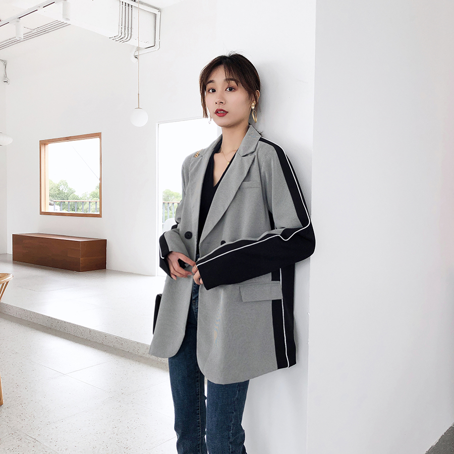 Fashion Double Breasted Patchwork Blazer Female Long Sleeve Office Ladies Blazer 2020 Spring Jacket Women Coats Outerwear WB17