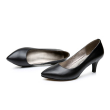 Women Genuine Leather high heels Sexy female shallow mouth Commuter shoes low toe shoes fashion pointed female party shoes memunia 2018 sweet shoes women pumps high heels shoes low heels pointed toe fashion shallow mouth large size dress shoes