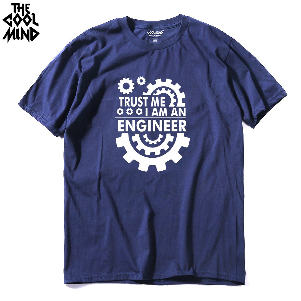 COOLMIND TR0112A Cotton TRUST ME I AM AN Engineer Printed Men T Shirt Casual Men's T-shirt O-neck Knitted Tops Tee Shirts