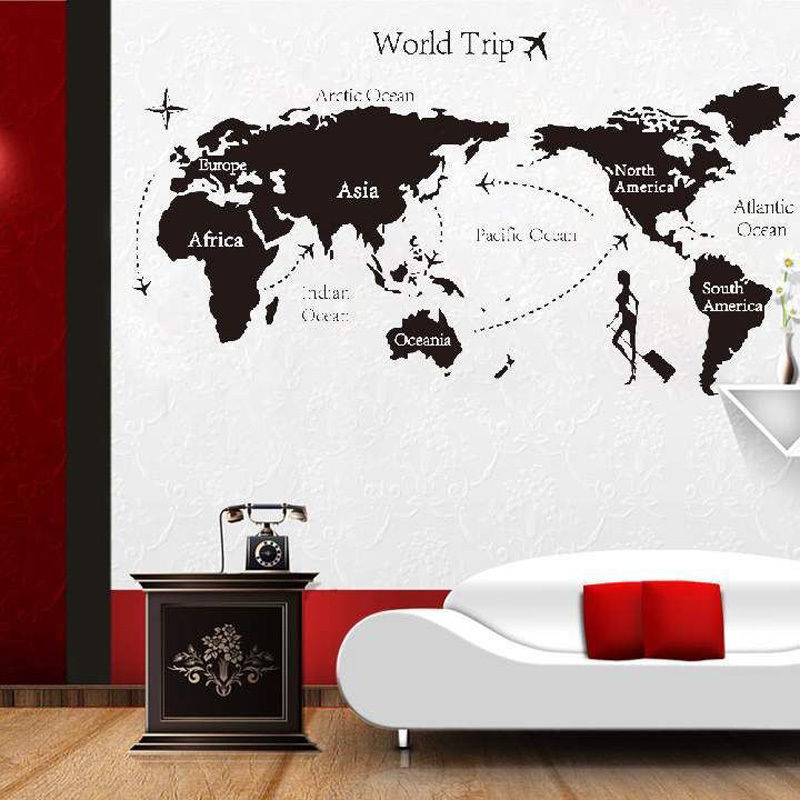 1 pcs world map vinyl wall stickers fluorescent wall decor removable new world trip travel map wall stickers art vinyl decal home decor wallpaper mural gumiabroncs Images
