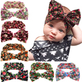 1PC Cute New Printing Flower Headband Bow Baby Girls Headband 100%Cotton Hair Band Elastic HairBands Kids Hair Accessories KT038