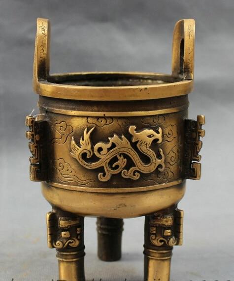 Ev ve Bahçe'ten Statü ve Heykelleri'de Bi003248 Tibet Bronz Budizm Fly Ejderha Heykeli Aslan Kafası Ding Tütsü Burner Buhurluk title=