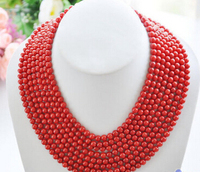 Women Gift word Love ddh002445 Real 8row 16~22 6MM round red coral bead necklace 28% Discount women wedding Noble style