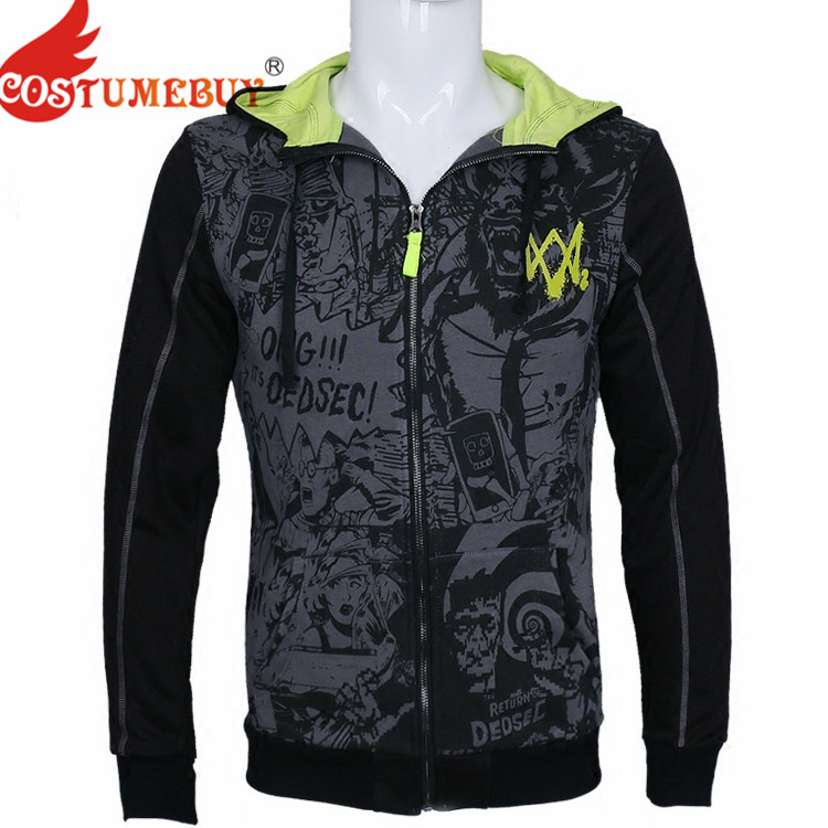 Costumebuy Watch Dogs 2 Cosplay DedSec Cotton Sweatshirts Men's Hoodies Coat Tops Long Sleeve Jackets Sweater Costume T115
