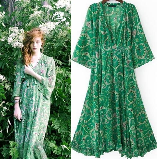 Free shipping Women Summer Boho Vintage Green Long Sleeve