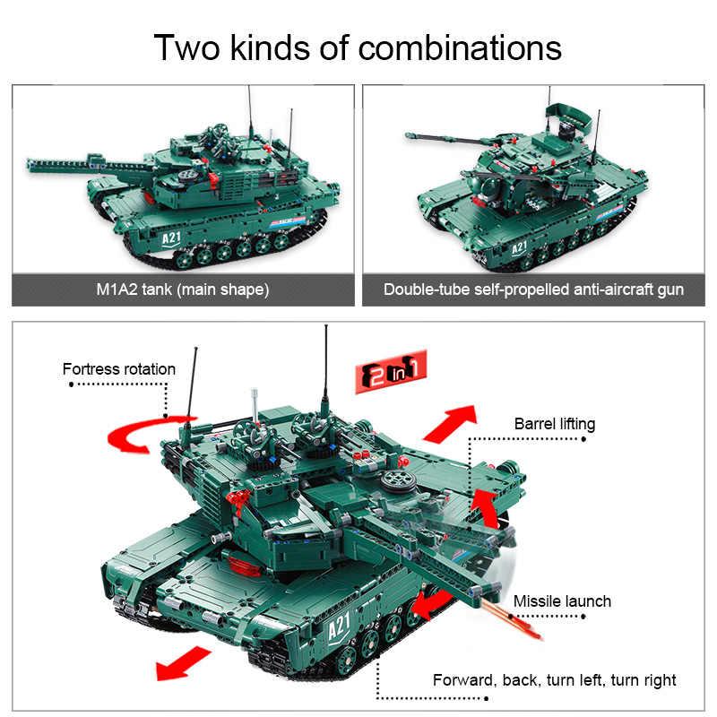 Cada 1498CPS RC ทหาร M1A2 ถังชุด Building Blocks อิฐรีโมทคอนโทรลใช้งานร่วมกับ WW2 Technic ของเล่นสำหรับเด็ก