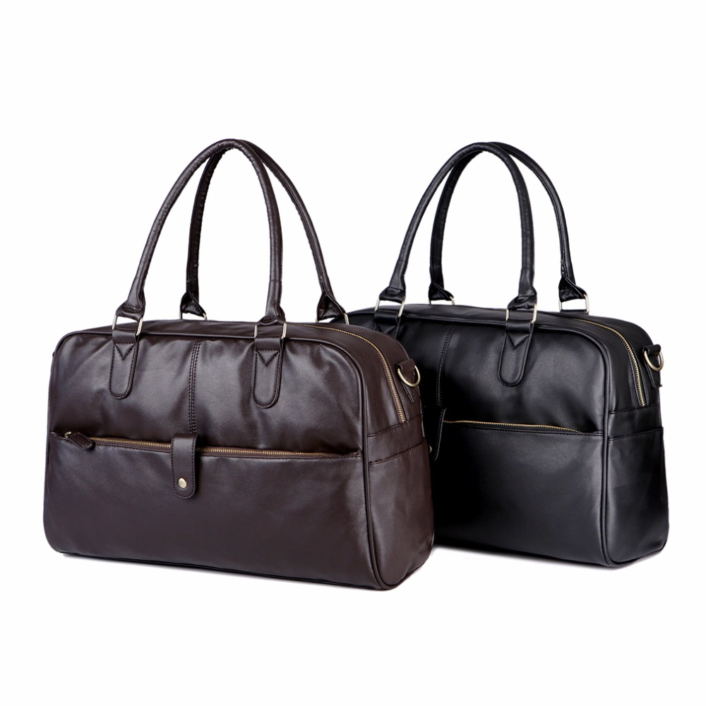 aa8bdd9668a6 New Fashion PU Leather Men s Travel Bags Quality Man Travel Duffle ...