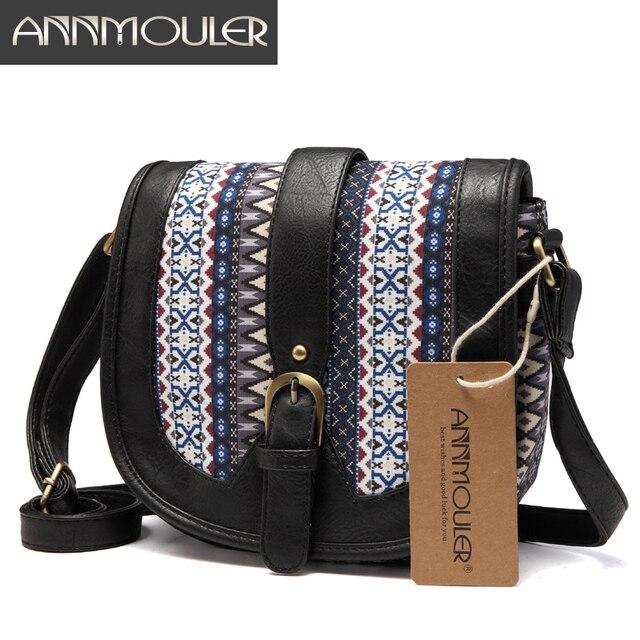 Women Shoulder Sling Bag Vintage Small Bag Pu Leather Patchwork Crossbody Bag Bohemian Style Lady Messenger Bag