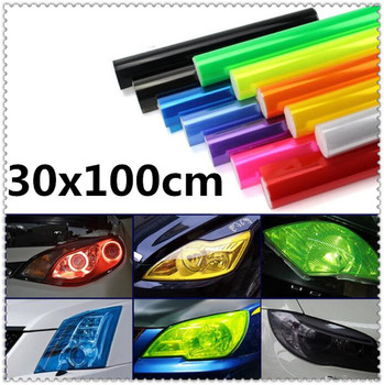 30x100cm Car HeadLight lamp Decor Vinyl Film Sticker Decal for BMW E34 F10 F20 E92 E38 E91 E53 E70 X5 M M3 E46 E39 E38 E90 image