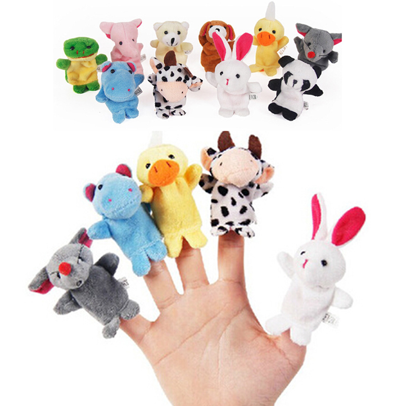 Drop Shjpping 10PCS Cute Cartoon Biological Animal Finger Puppet Plush Toys Child Baby Favor Dolls Boys Girls Finger Puppets FZH
