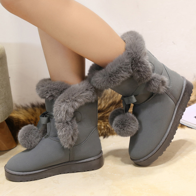 Ladies lovely pompon fur mid calf boots 2017 new arrival plush butterfly knot female warm shoes winter snow boots