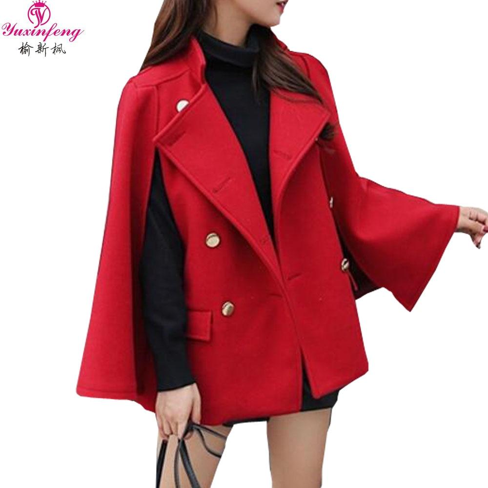 Mode Breasted Femmes rouge Chaud Noir Ligne Hiver Rouge Une Femelle Poncho Style Yuxinfeng Lâche Noir Cape Veste Manteau Double Automne vPnqnIw1