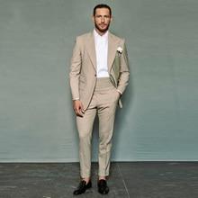 Khaki Mens Wedding Suits Slim Fit Groom Wear Tuxedos 2Pcs(JacketPants) Groomsman Smart Casual Blazer Costume Homme