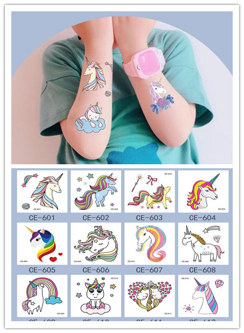 5Pcs/Set Children's Temporary Tattoos Stickers Unicorn  Body Art Sleeve Tattoo Decals Waterproof Tattoos Cartoon Hat