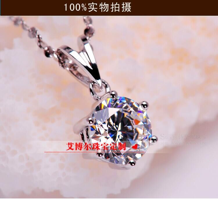 TN206 classic 1 /2/3 carat SONA Simulated Gem 6 prongs Pendant Necklaces For Women,