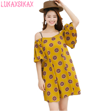 2017 Newest Fashion Floral Printed Turmeric Chiffon Summer Dress Women Sexy Off Shoulder Beach Dress Loose