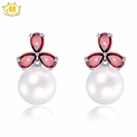 Hutang Natural 7.5 8mm Fresh Water Pearl and Garnet Stud Earrings Solid 925 Sterling Silver Gemstone Jewelry Women's Gift