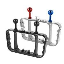 лучшая цена CNC Aluminum Dual Ball Mount Bracket Diving Video Fill Light Grip for Gopro HERO3/3+/4/5 Action Camera Black F16791/F16792