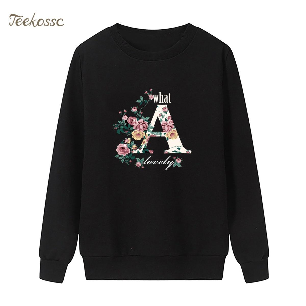 Flowers A Sweatshirt Print Hoodie 2018 Brand Winter Autumn Women Lasdies Pullover Fleece Warm Loose Hipster Casual Streetwear