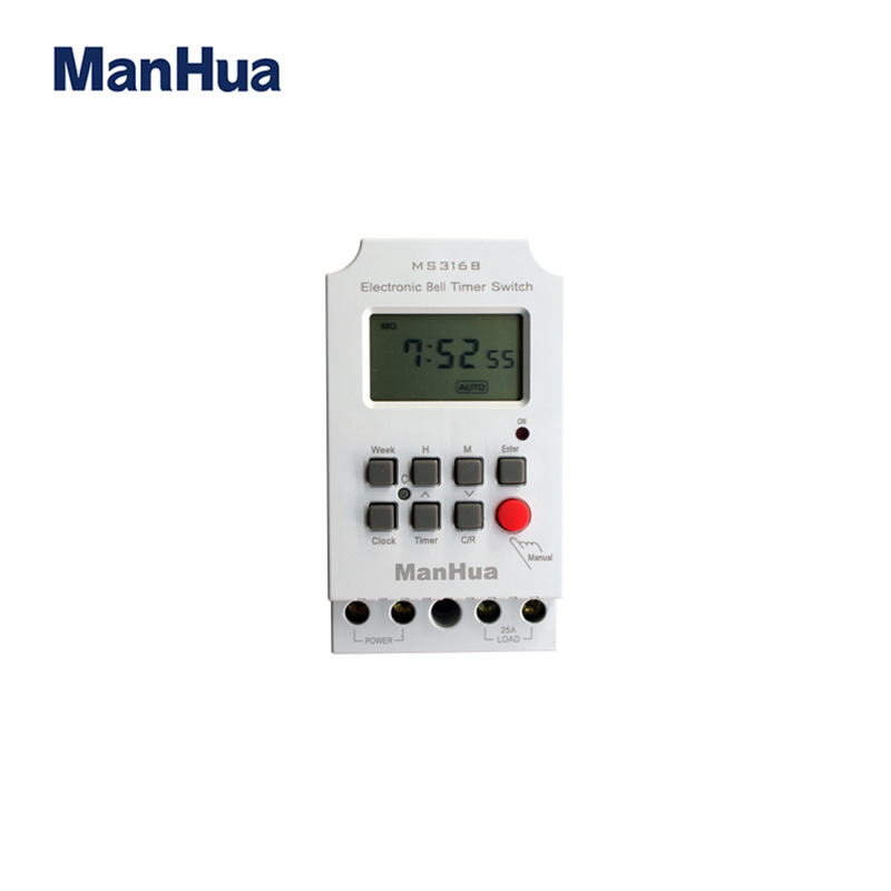 Manhua 220VAC 25A MS316B Weekly Programmable 68 ON/OFF Duration 1-99 Seconds With LCD Display Electro'nical School Bell Timer manhua weekly programmable 220vac 25a electrical school bell timer 68 on duration 1 99 seconds program with lcd display ms316b