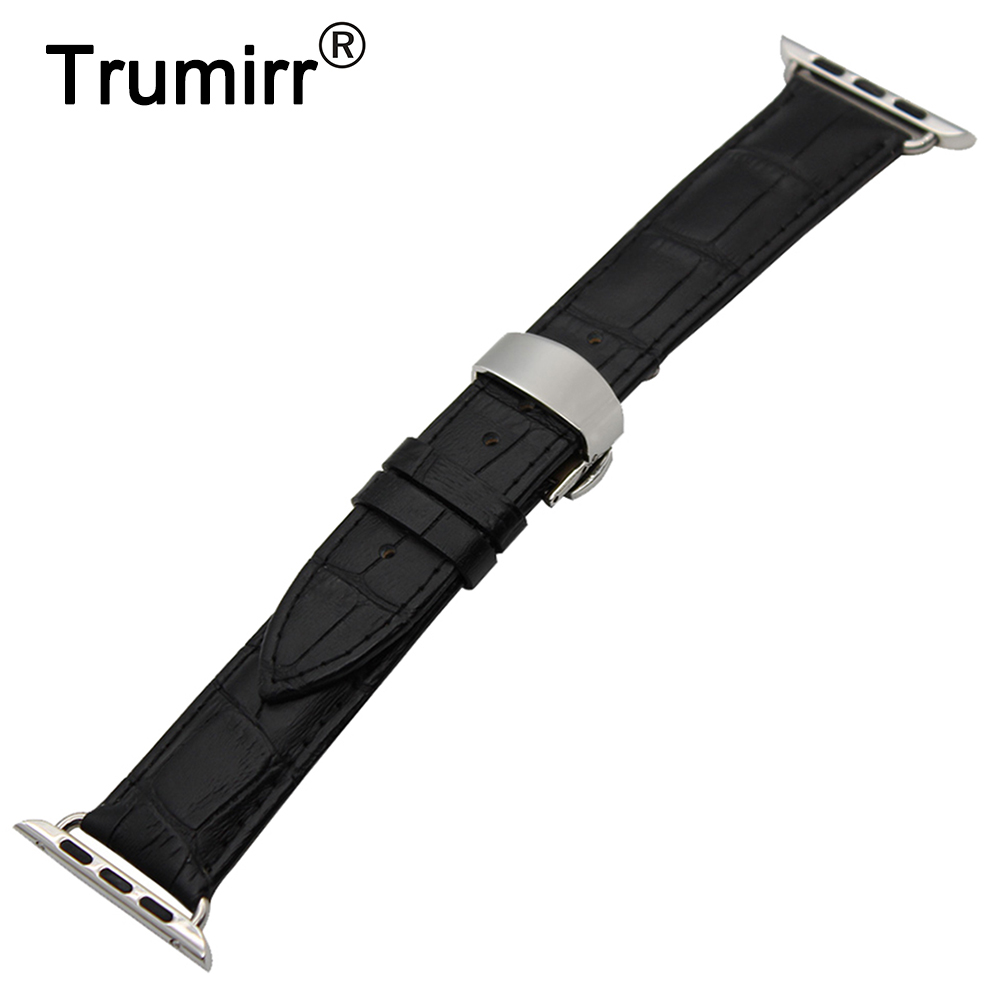 Genuine Leather Watchband Butterfly Clasp Strap for 38mm 42mm iWatch Apple Watch Band Wrist Belt Bracelet Black Brown + Adapter цена и фото