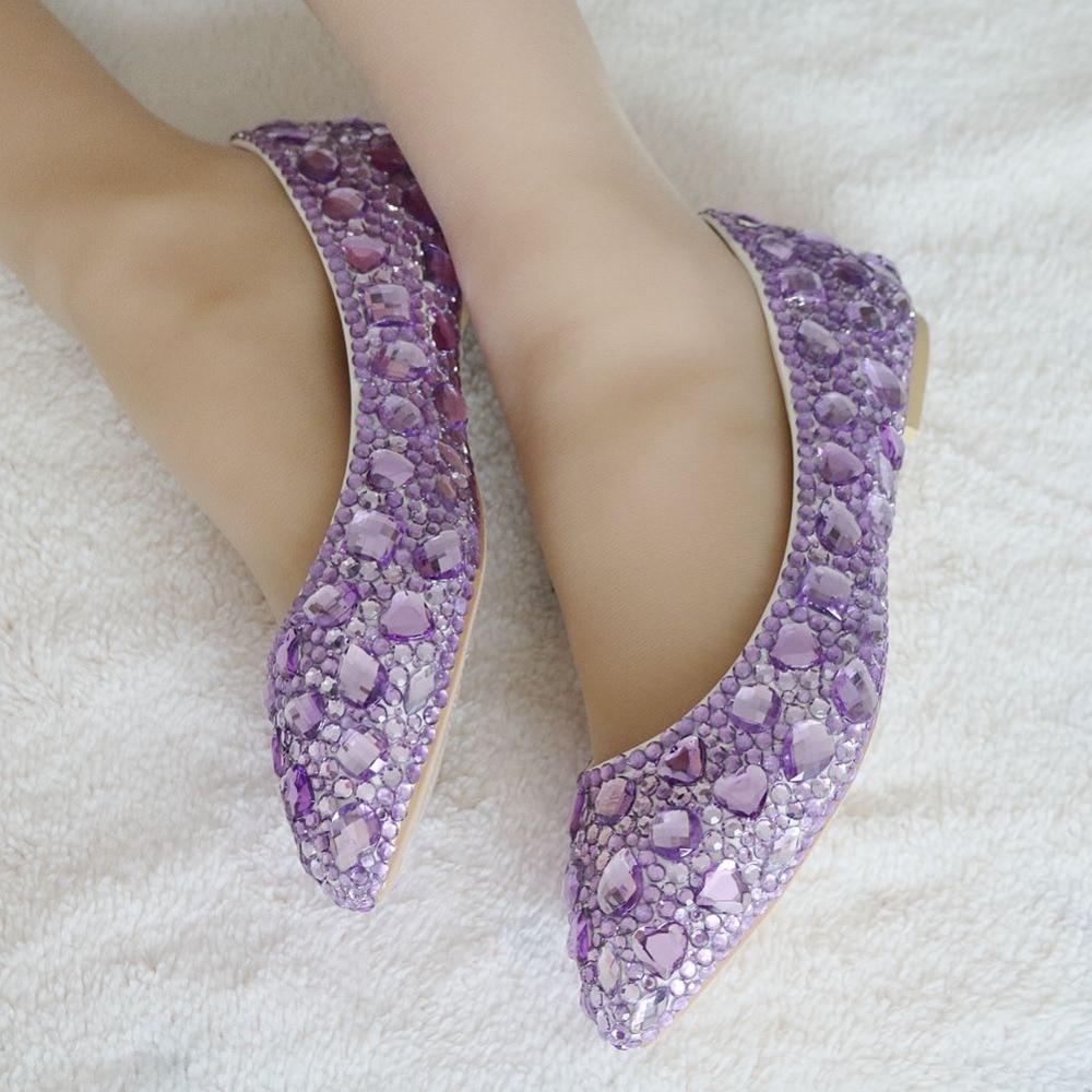 ФОТО Fashion lavender rhinestone flats pointed toe women shoes luxury flat heel crystal shoes light purple ballet flats for women