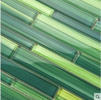 ФОТО Modern Bamboo Strip Glass Mosaic Tiles Wall Tiles Green for Living Room TV Backsplash Wall Art Decor 30*30cm Wallpaper Luxury
