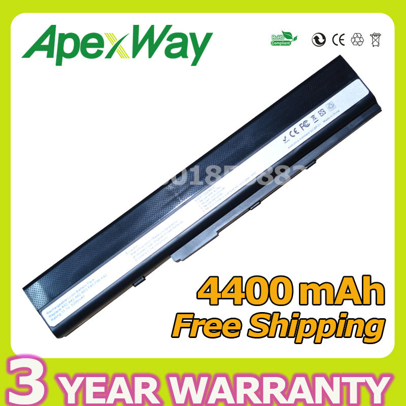 Apexway 4400mAh Laptop Battery for Asus A31-K52 A41-K52 A32-K52 A42-K52 A52 A52F A52J K42 K42F K52F K52 K52J K52JC K52JE 5200mah laptop battery for asus a52 a52f a52j k42 k42f k52f k52 k52j k52jc k52je a31 k52 a32 k52 a41 k52 a42 k52 bateria akku