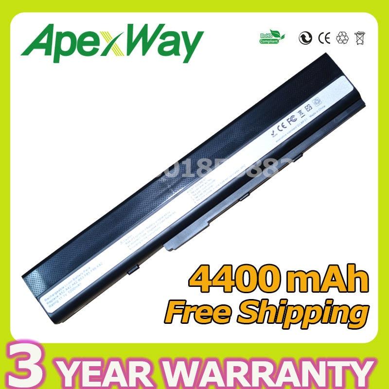 Apexway 4400mAh Laptop Battery for Asus A31-K52 A41-K52 A32-K52 A42-K52 A52 A52F A52J K42 K42F K52F K52 K52J K52JC K52JE laptop battery for asus x552 x552cl x552e x552ea x552ep x552l x552ld x552vl x552la 15v 2950mah 44wh li ion oem