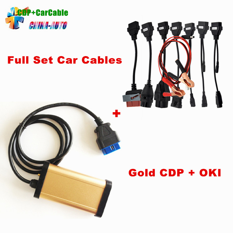 Gold CDP With bluetooth and OKI chip !! 2013.3 R3 TCS CDP Pro plus with Full set 8 car cables auto diagnostic tools truck full set tcs truck 8 cables cdp pro scanner connecter diagnostic cable for vd600 cdp obd2 diagnostic tool connect cable